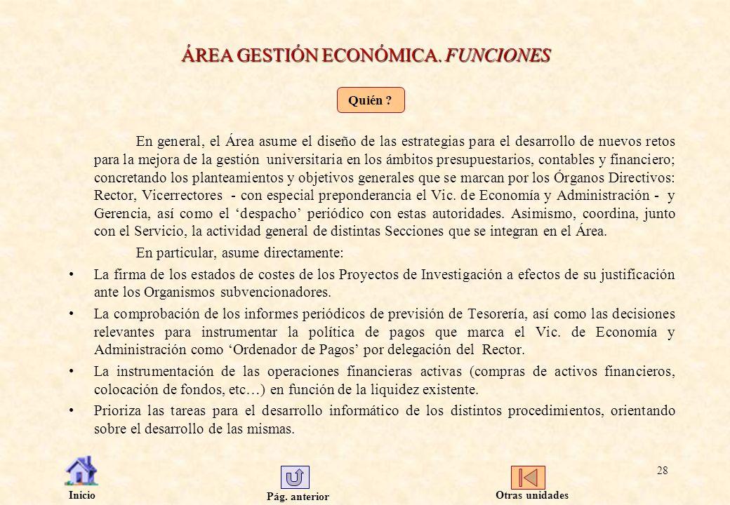 ÁREA GESTIÓN ECONÓMICA. FUNCIONES