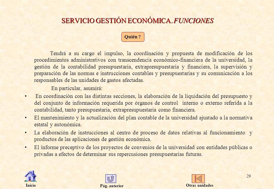 SERVICIO GESTIÓN ECONÓMICA. FUNCIONES