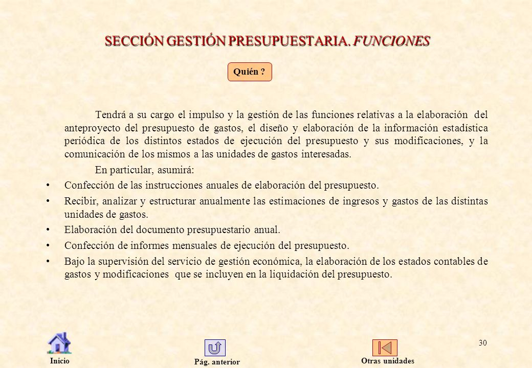 SECCIÓN GESTIÓN PRESUPUESTARIA. FUNCIONES