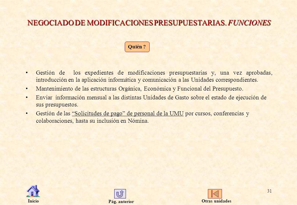 NEGOCIADO DE MODIFICACIONES PRESUPUESTARIAS. FUNCIONES