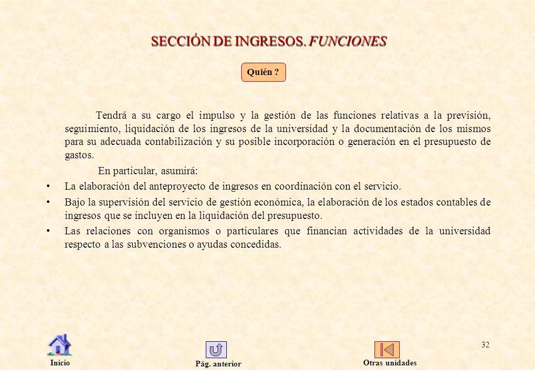 SECCIÓN DE INGRESOS. FUNCIONES