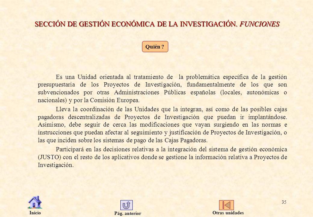 SECCIÓN DE GESTIÓN ECONÓMICA DE LA INVESTIGACIÓN. FUNCIONES