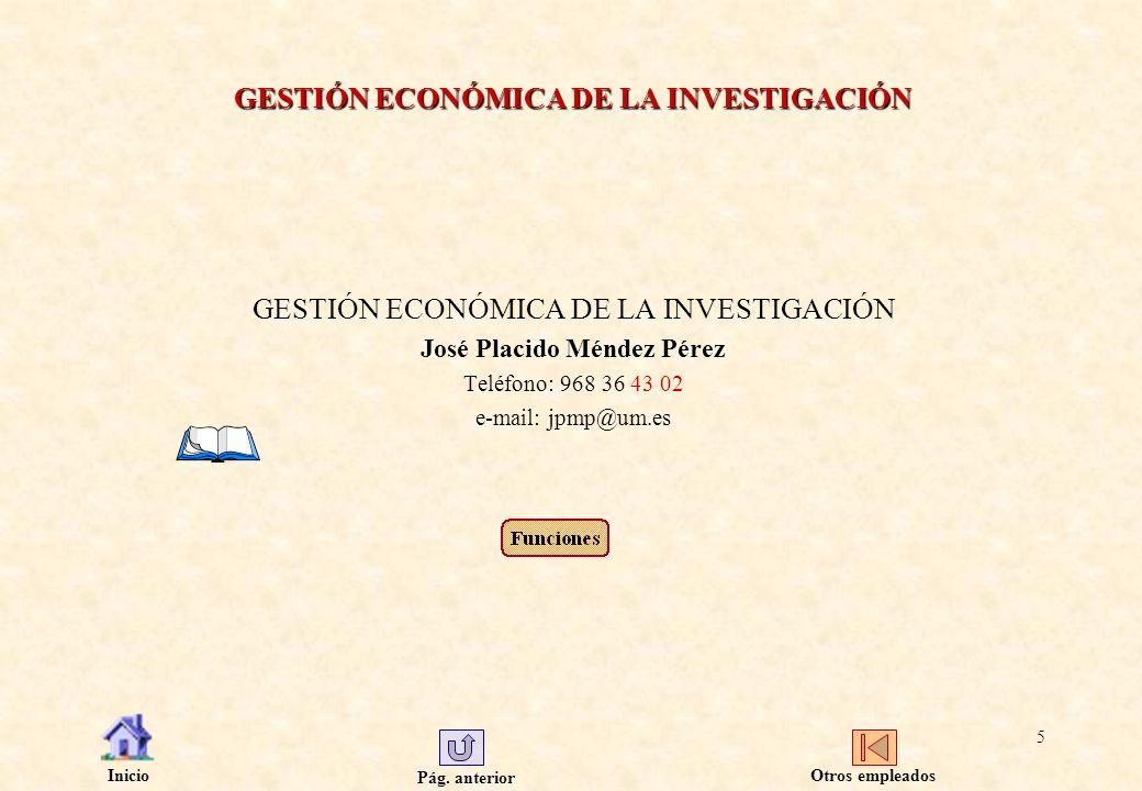 GESTIÓN ECONÓMICA DE LA INVESTIGACIÓN