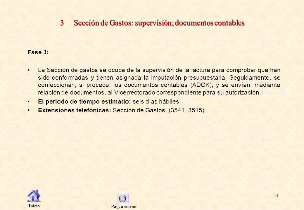 3 Sección de Gastos: supervisión; documentos contables