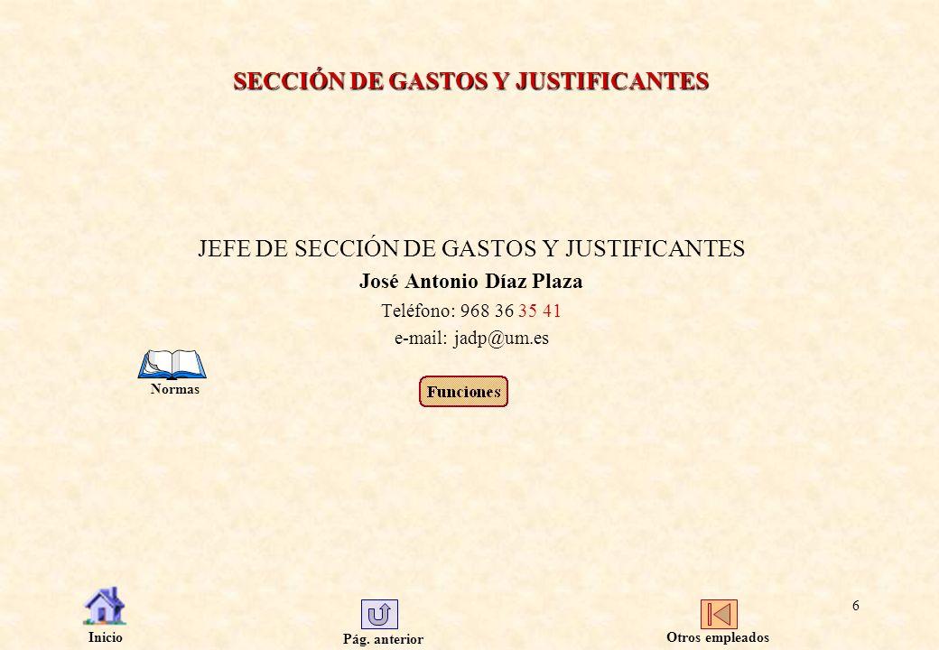 SECCIÓN DE GASTOS Y JUSTIFICANTES