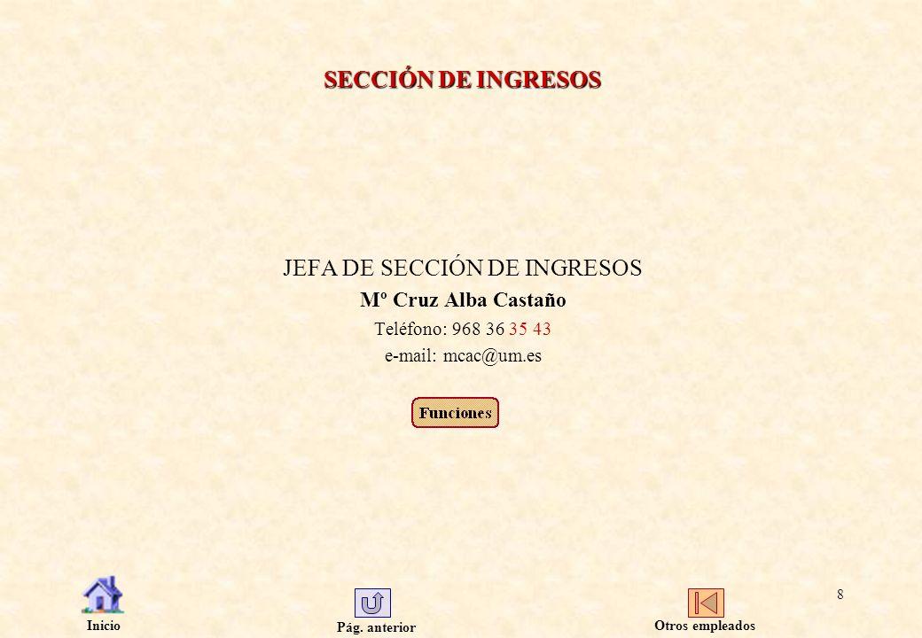 JEFA DE SECCIÓN DE INGRESOS