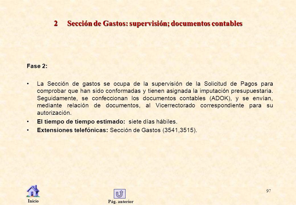 2 Sección de Gastos: supervisión; documentos contables