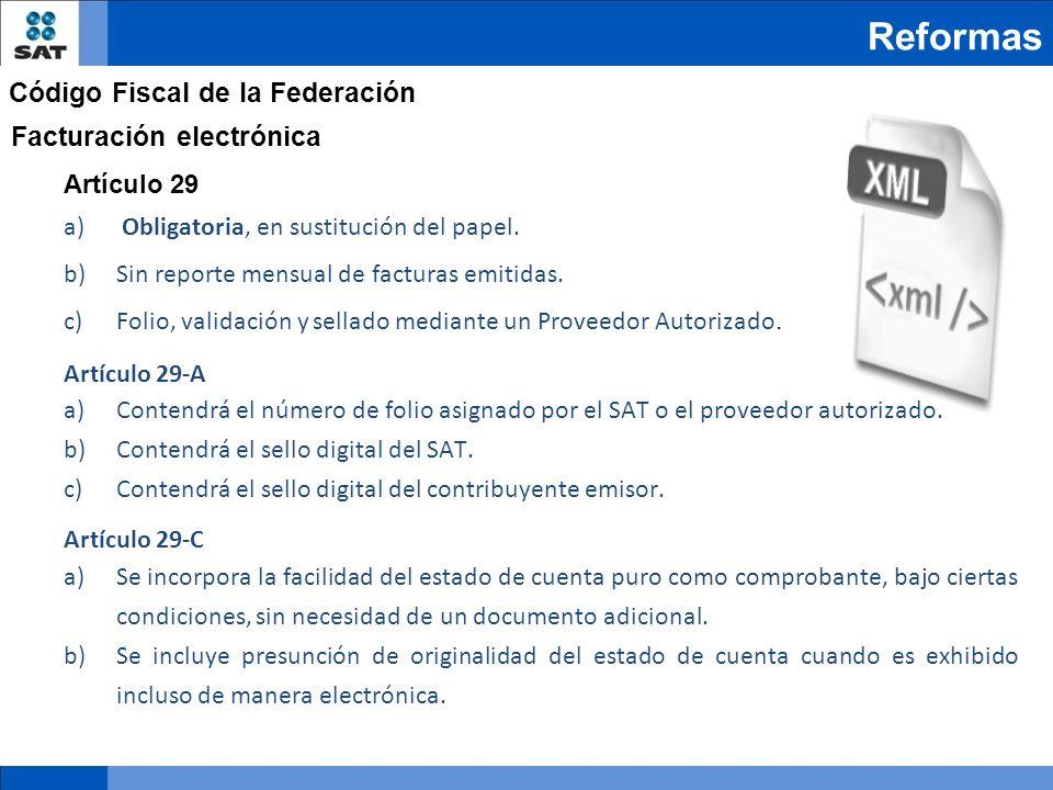 Reformas Código Fiscal de la Federación Facturación electrónica