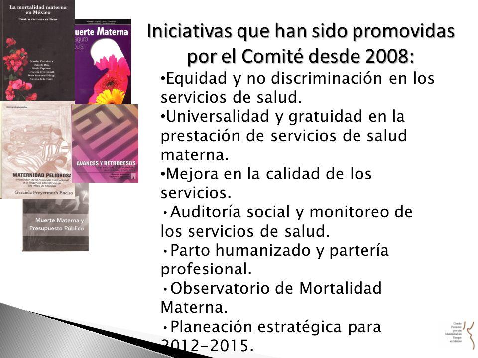 Iniciativas que han sido promovidas por el Comité desde 2008: