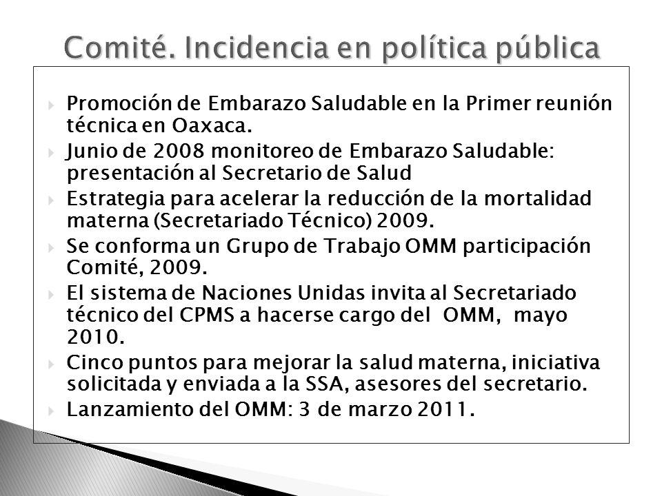 Comité. Incidencia en política pública