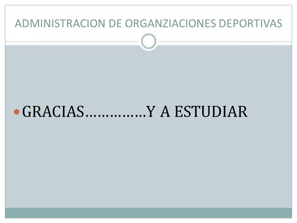 ADMINISTRACION DE ORGANZIACIONES DEPORTIVAS