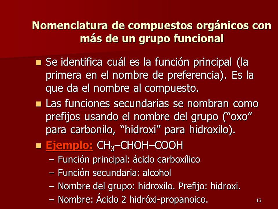 Nomenclatura de compuestos orgánicos con más de un grupo funcional