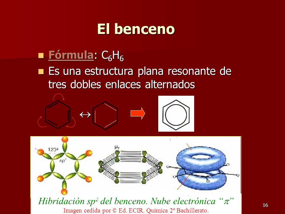 El benceno Fórmula: C6H6. Es una estructura plana resonante de tres dobles enlaces alternados. 