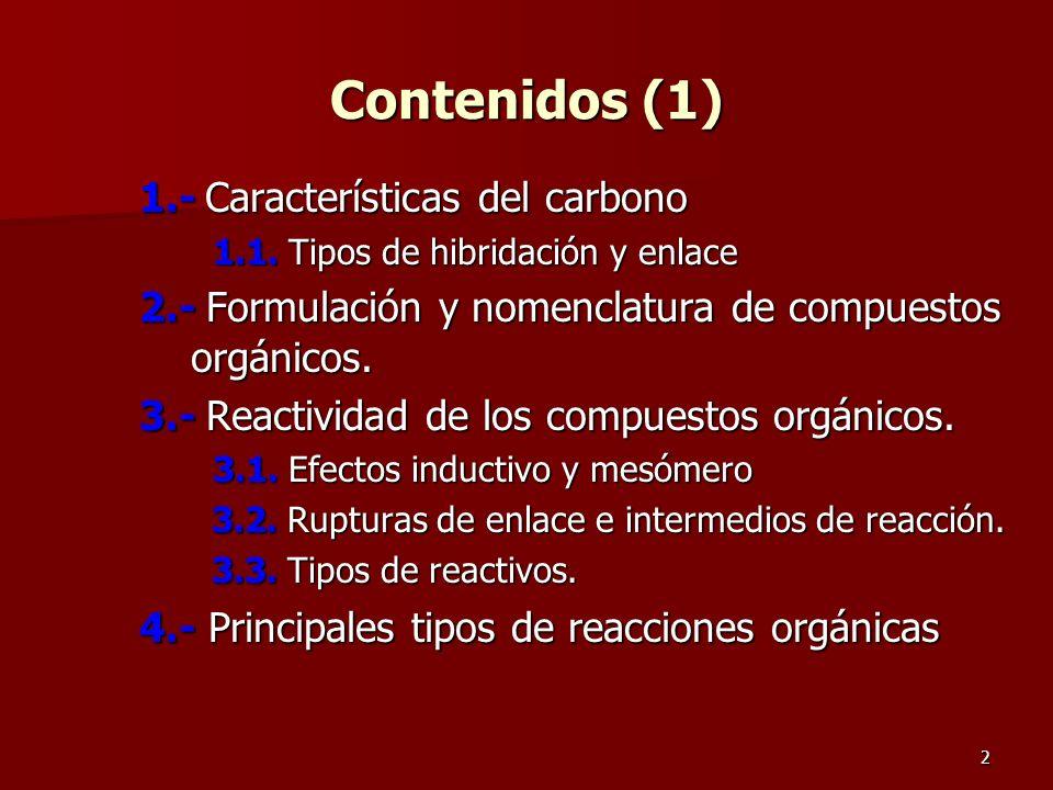 Contenidos (1) 1.- Características del carbono