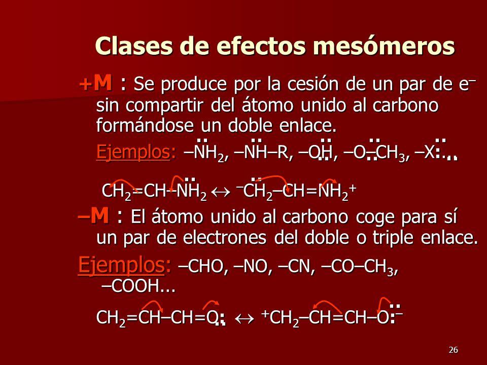 Clases de efectos mesómeros