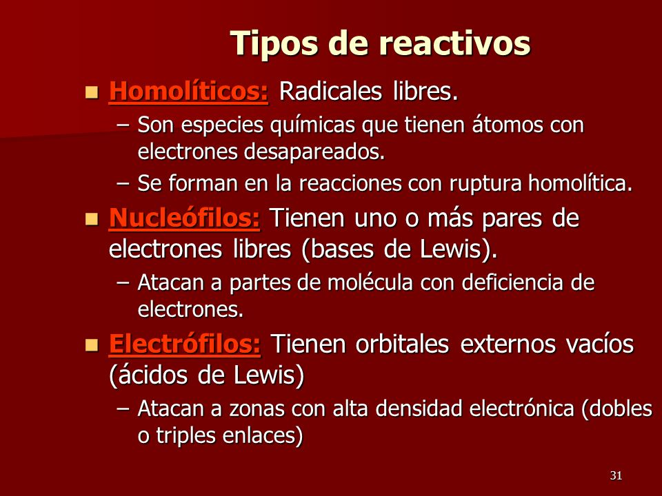 Tipos de reactivos Homolíticos: Radicales libres.