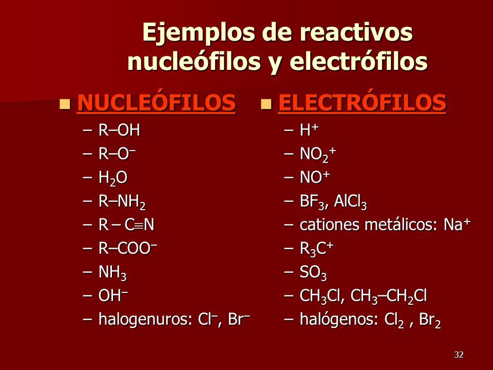 Ejemplos de reactivos nucleófilos y electrófilos