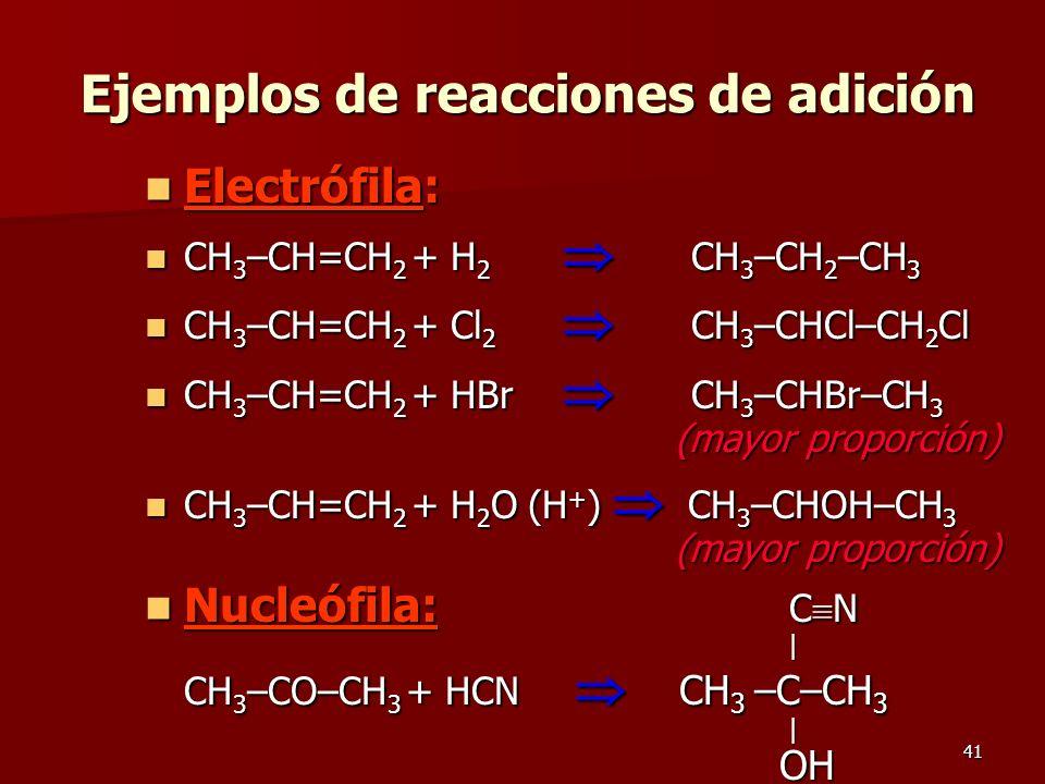 Ejemplos de reacciones de adición