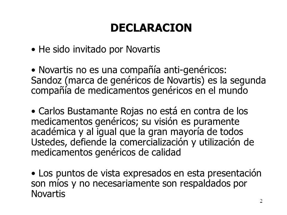 DECLARACION He sido invitado por Novartis