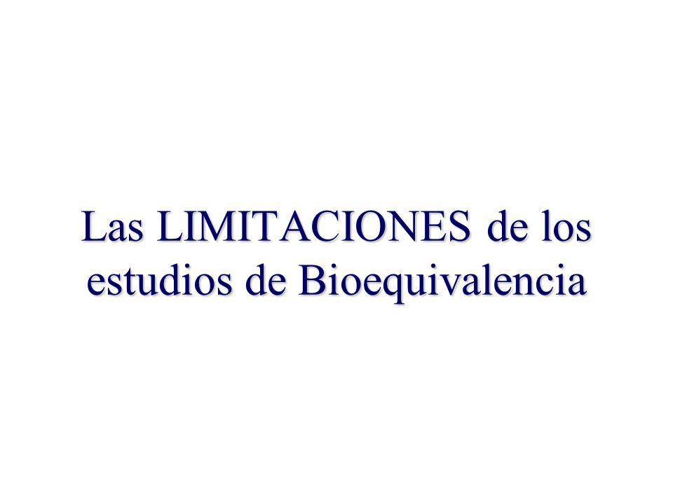 Las LIMITACIONES de los estudios de Bioequivalencia