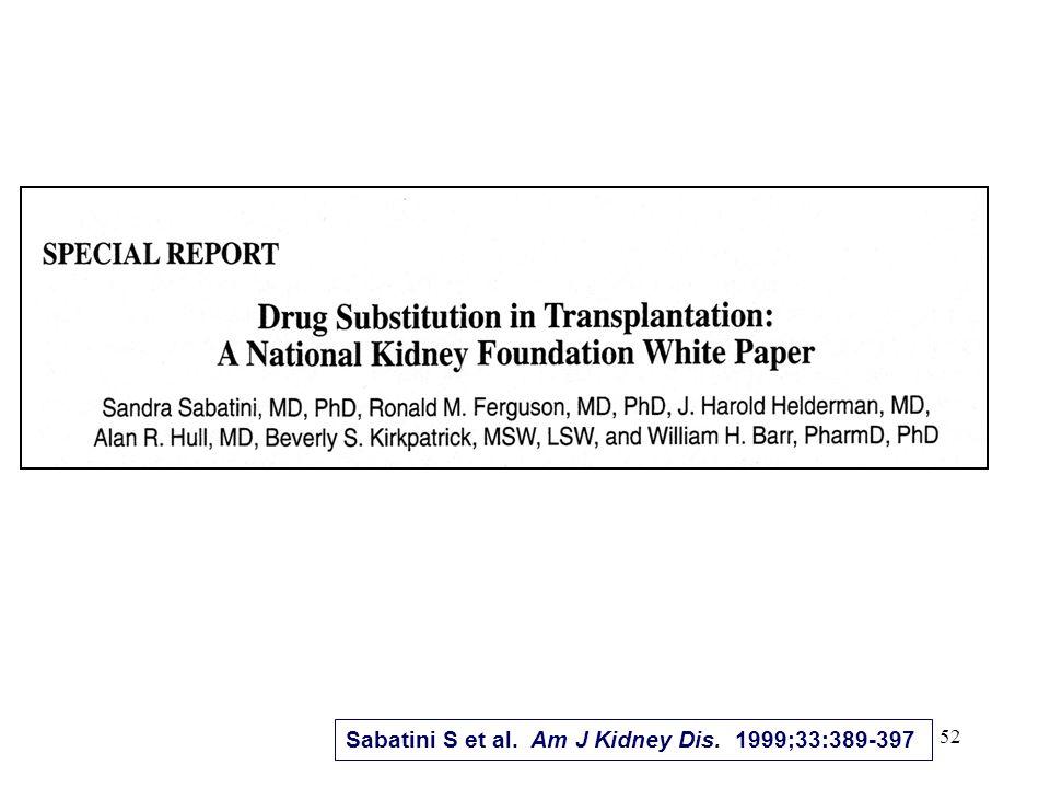 Sabatini S et al. Am J Kidney Dis. 1999;33:389-397