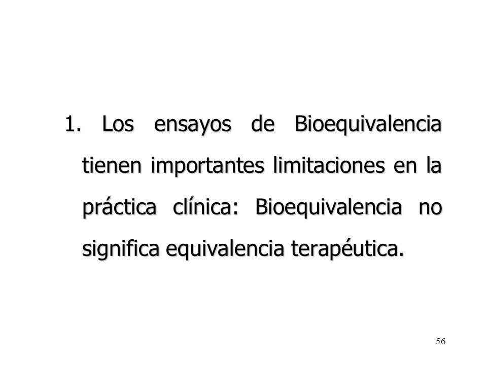 1. Los ensayos de Bioequivalencia tienen importantes limitaciones en la práctica clínica: Bioequivalencia no significa equivalencia terapéutica.