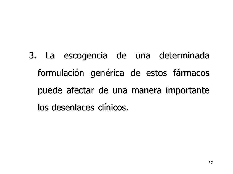 3. La escogencia de una determinada formulación genérica de estos fármacos puede afectar de una manera importante los desenlaces clínicos.