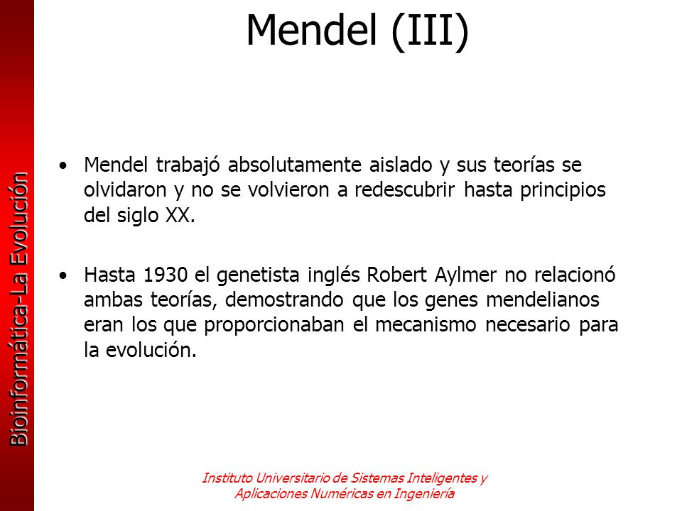 Mendel (III) Mendel trabajó absolutamente aislado y sus teorías se olvidaron y no se volvieron a redescubrir hasta principios del siglo XX.