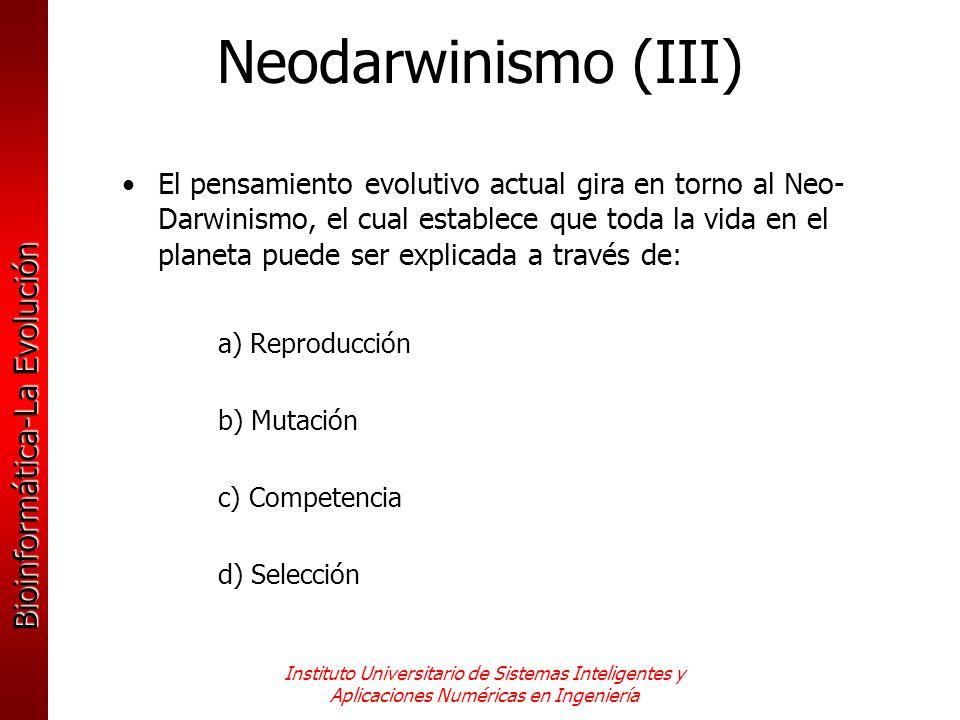 Neodarwinismo (III)