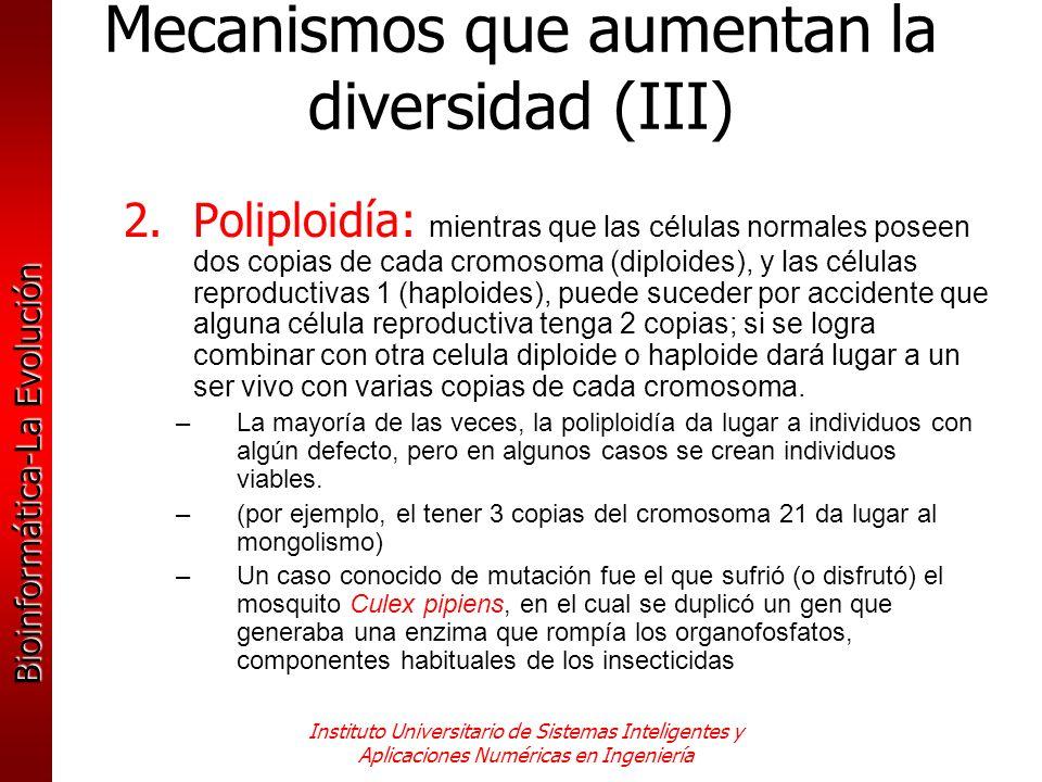 Mecanismos que aumentan la diversidad (III)