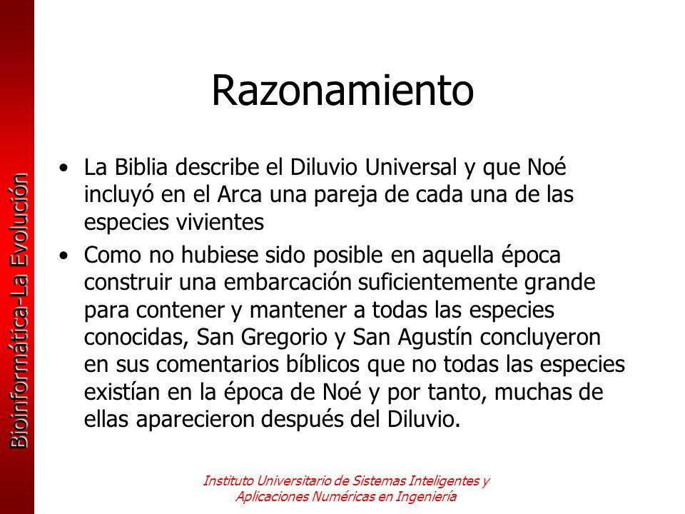Razonamiento La Biblia describe el Diluvio Universal y que Noé incluyó en el Arca una pareja de cada una de las especies vivientes.