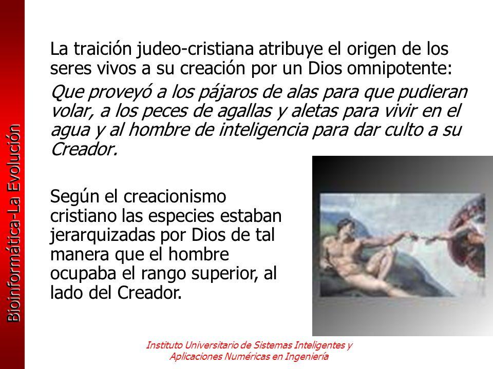 La traición judeo-cristiana atribuye el origen de los seres vivos a su creación por un Dios omnipotente: