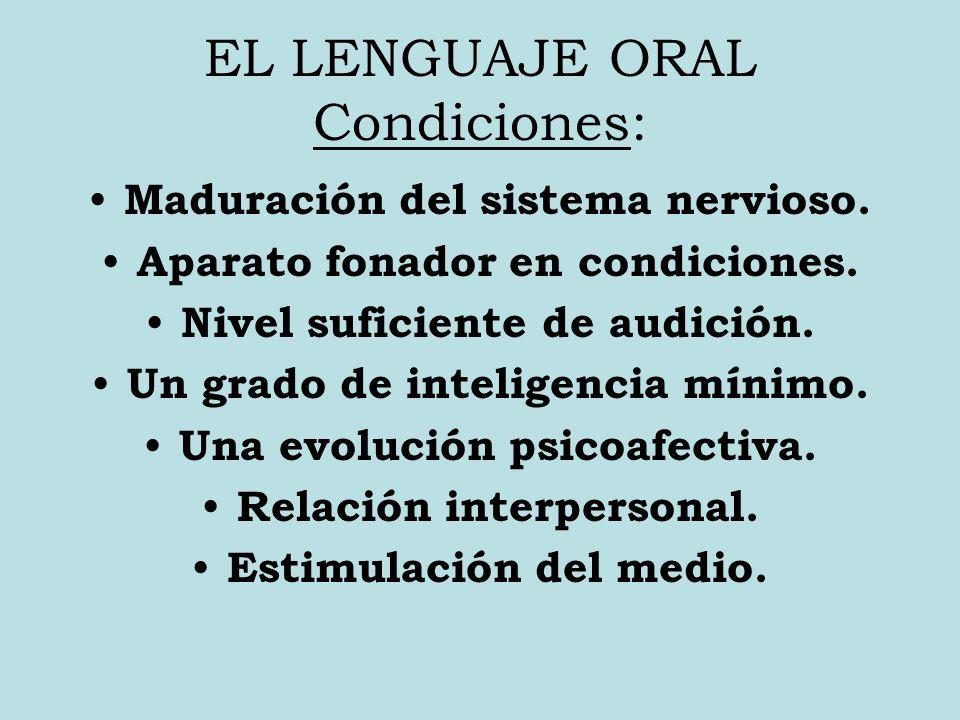 EL LENGUAJE ORAL Condiciones: