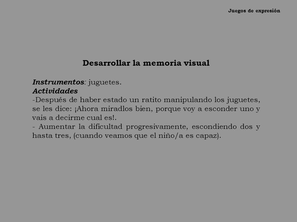 Desarrollar la memoria visual