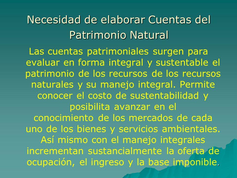 Necesidad de elaborar Cuentas del Patrimonio Natural