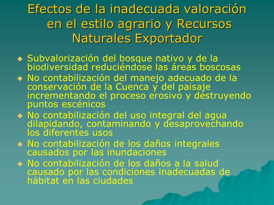 Efectos de la inadecuada valoración en el estilo agrario y Recursos Naturales Exportador