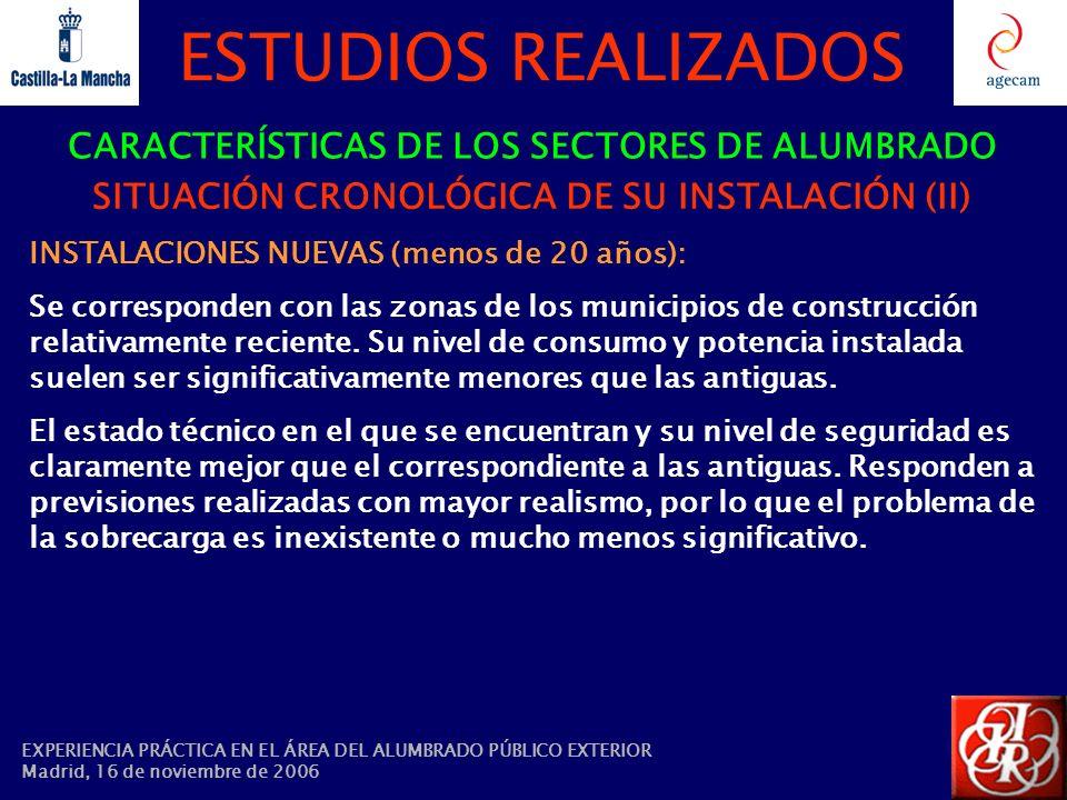 ESTUDIOS REALIZADOS CARACTERÍSTICAS DE LOS SECTORES DE ALUMBRADO