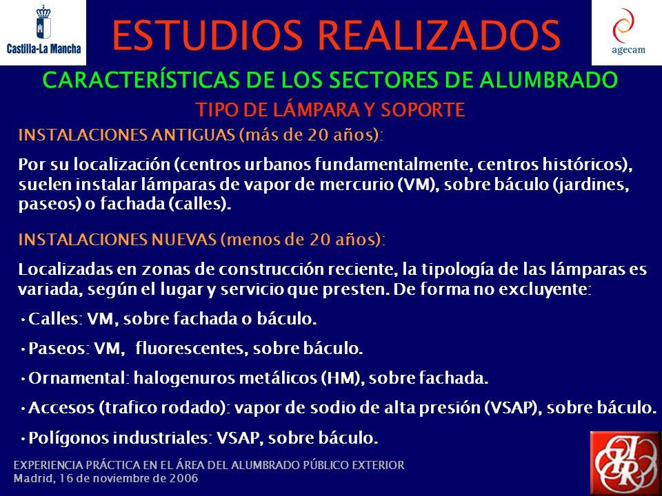CARACTERÍSTICAS DE LOS SECTORES DE ALUMBRADO TIPO DE LÁMPARA Y SOPORTE