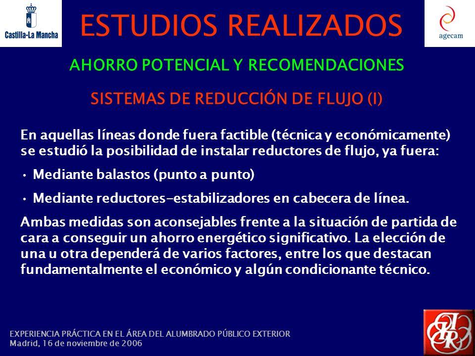 AHORRO POTENCIAL Y RECOMENDACIONES SISTEMAS DE REDUCCIÓN DE FLUJO (I)