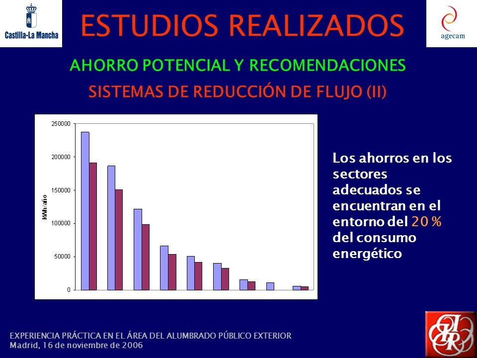 AHORRO POTENCIAL Y RECOMENDACIONES SISTEMAS DE REDUCCIÓN DE FLUJO (II)