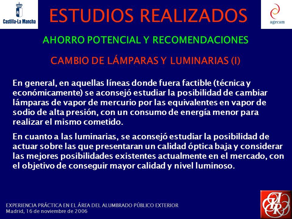 AHORRO POTENCIAL Y RECOMENDACIONES CAMBIO DE LÁMPARAS Y LUMINARIAS (I)