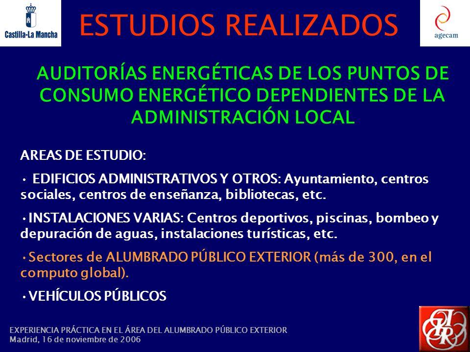 ESTUDIOS REALIZADOS AUDITORÍAS ENERGÉTICAS DE LOS PUNTOS DE CONSUMO ENERGÉTICO DEPENDIENTES DE LA ADMINISTRACIÓN LOCAL.