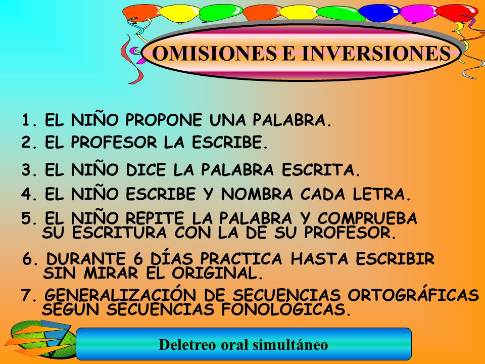 OMISIONES E INVERSIONES Deletreo oral simultáneo
