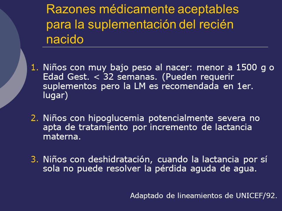 Razones médicamente aceptables para la suplementación del recién nacido