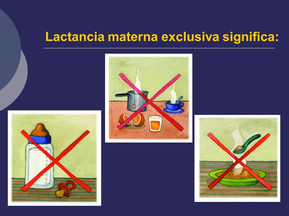 Lactancia materna exclusiva significa: