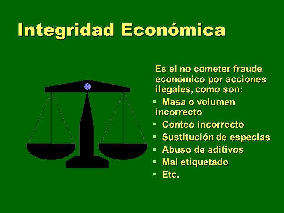 Integridad Económica Es el no cometer fraude económico por acciones ilegales, como son: Masa o volumen incorrecto.