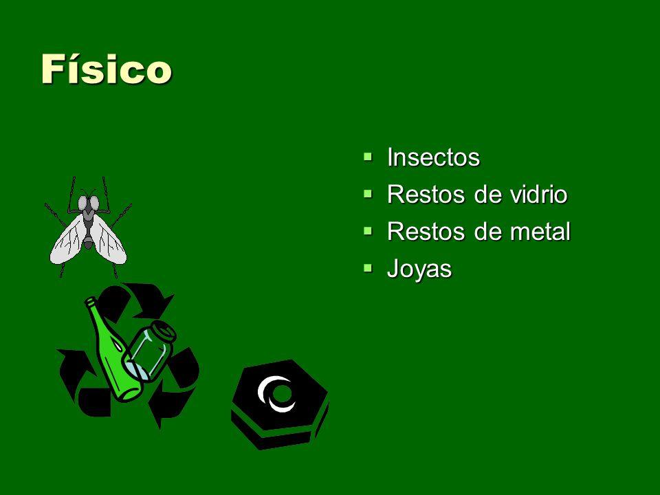 Físico Insectos Restos de vidrio Restos de metal Joyas