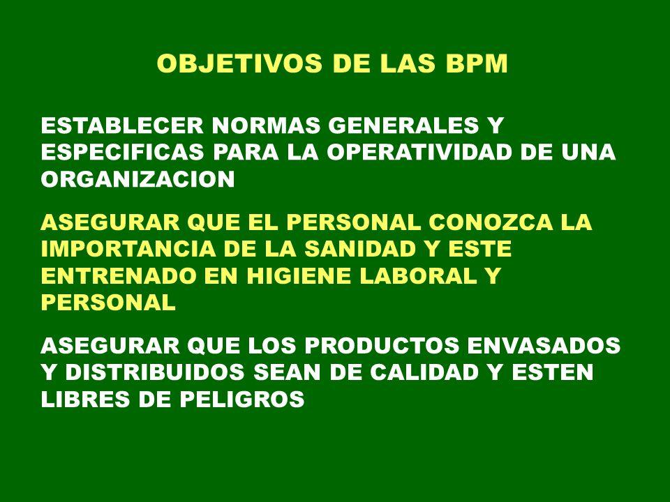 OBJETIVOS DE LAS BPM ESTABLECER NORMAS GENERALES Y ESPECIFICAS PARA LA OPERATIVIDAD DE UNA ORGANIZACION.