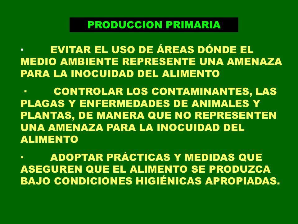 PRODUCCION PRIMARIA · EVITAR EL USO DE ÁREAS DÓNDE EL MEDIO AMBIENTE REPRESENTE UNA AMENAZA PARA LA INOCUIDAD DEL ALIMENTO.