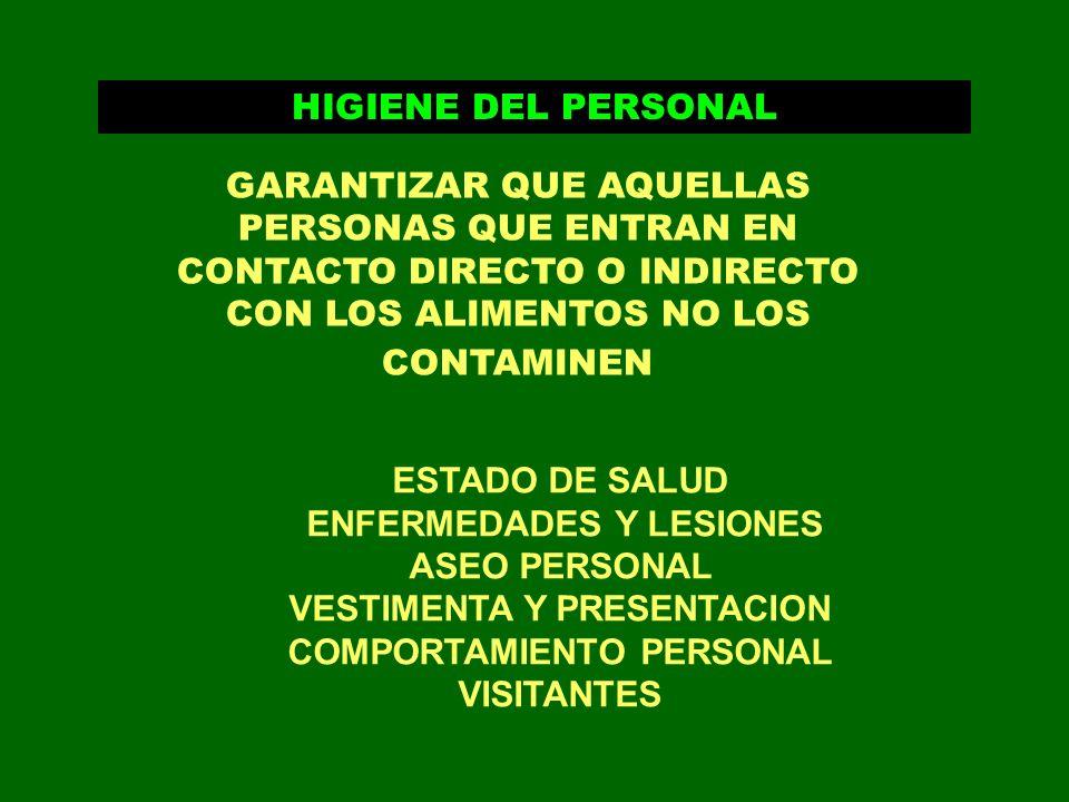ENFERMEDADES Y LESIONES ASEO PERSONAL VESTIMENTA Y PRESENTACION